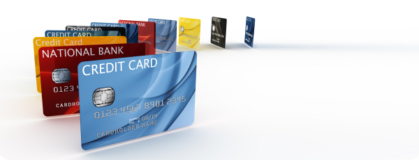 A picture of all the different card types accepted, including credit and debit cards from several different banks