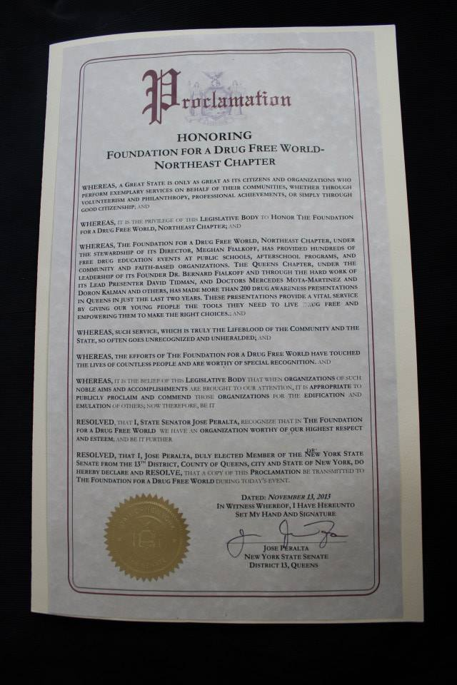 Proclamation Honoring Foundation for a Drug-Free World, Northeast Chapter