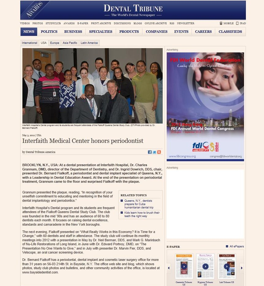 The same article on Dental Tribune about Dr. Fialkoff being honored by Interfaith Medical Center