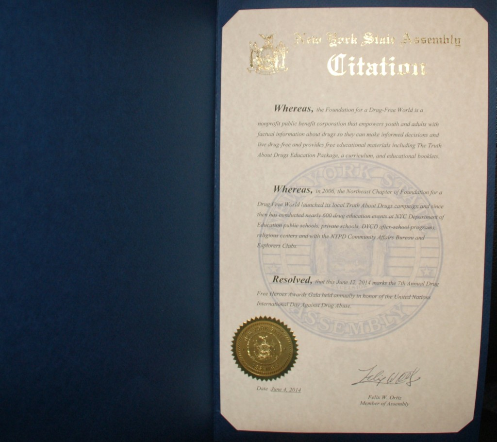 New York State Assembly Citation, the Foundation for a Drug-Free World