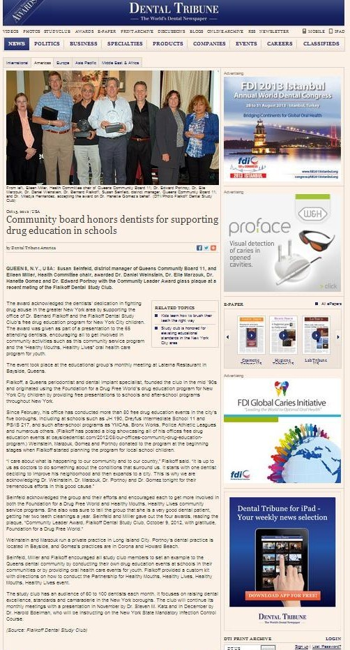 Dental Tribune - Community board honors dentists for supporting drug education in schools