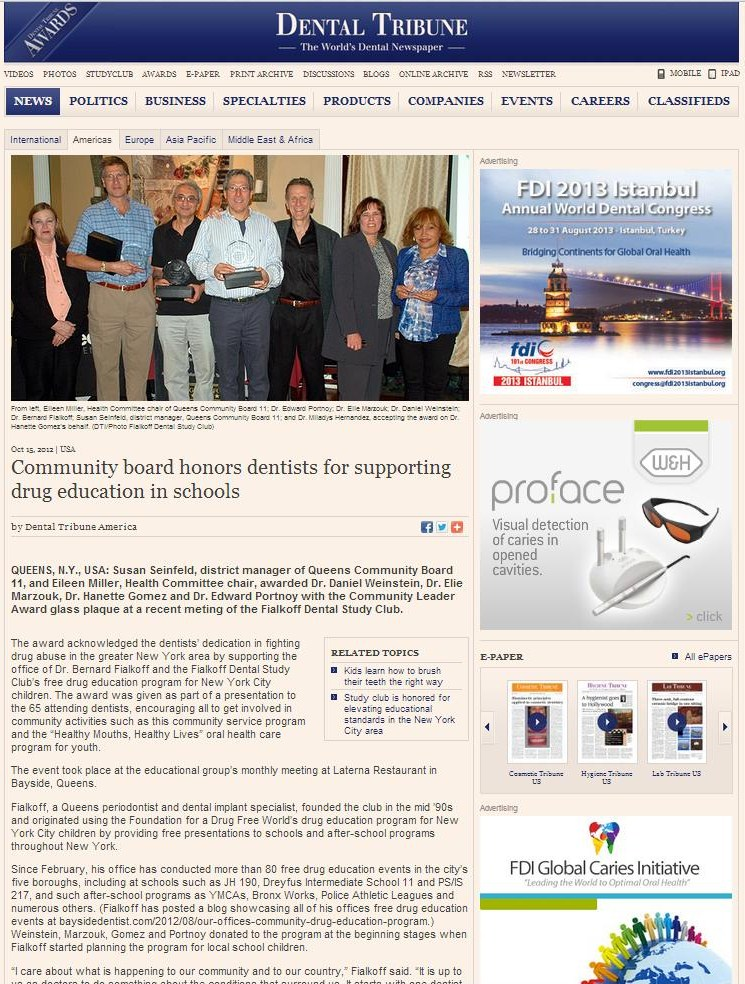 Dental Tribune article, Community board honors dentists for supporting drug eduation in schools