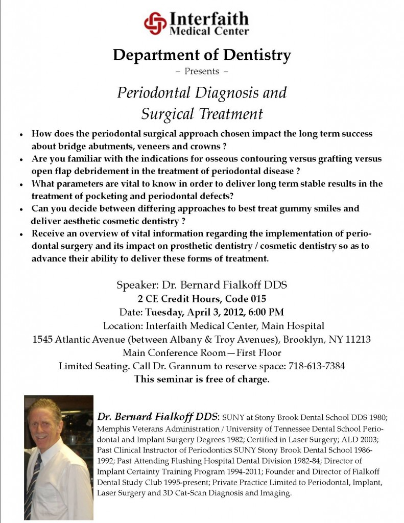 A promotion for a lecture with featured speaker Dr. Fialkoff for the Interfaith Medical Center