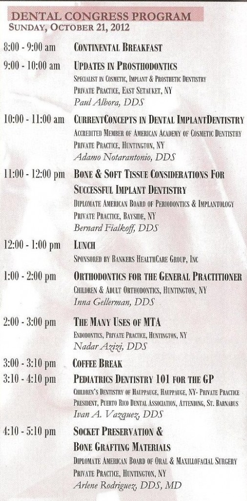 The Dental Congress's program