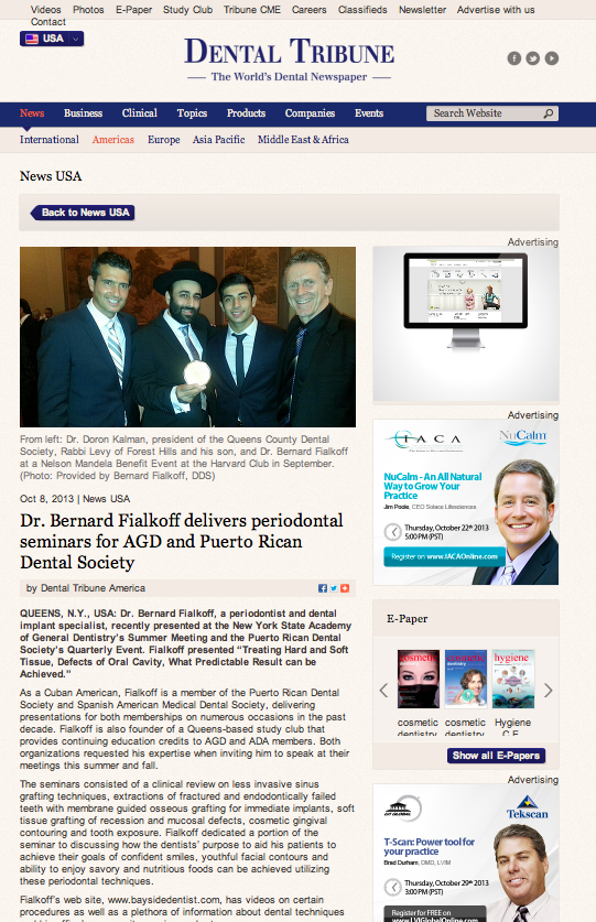 Dental Tribune - Dr. Bernard Fialkoff delivers periodontal seminars for AGD and Puerto Rican Dental Society