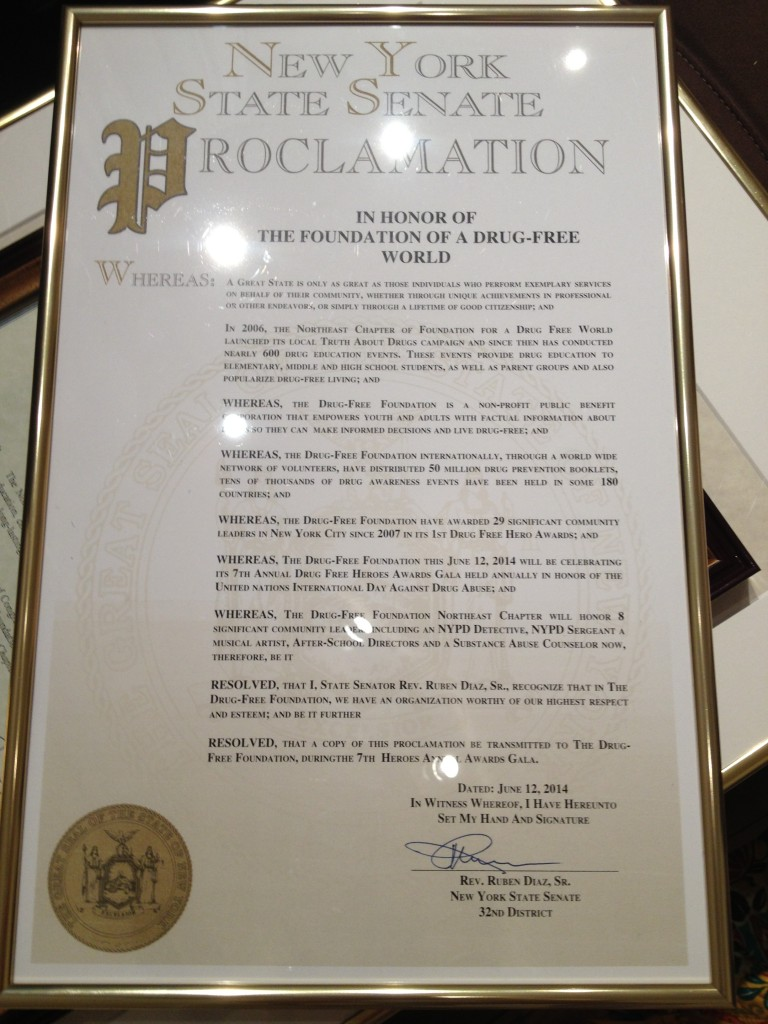 New York State Senate Proclamation in honor of the Foundation of a Drug-Free World