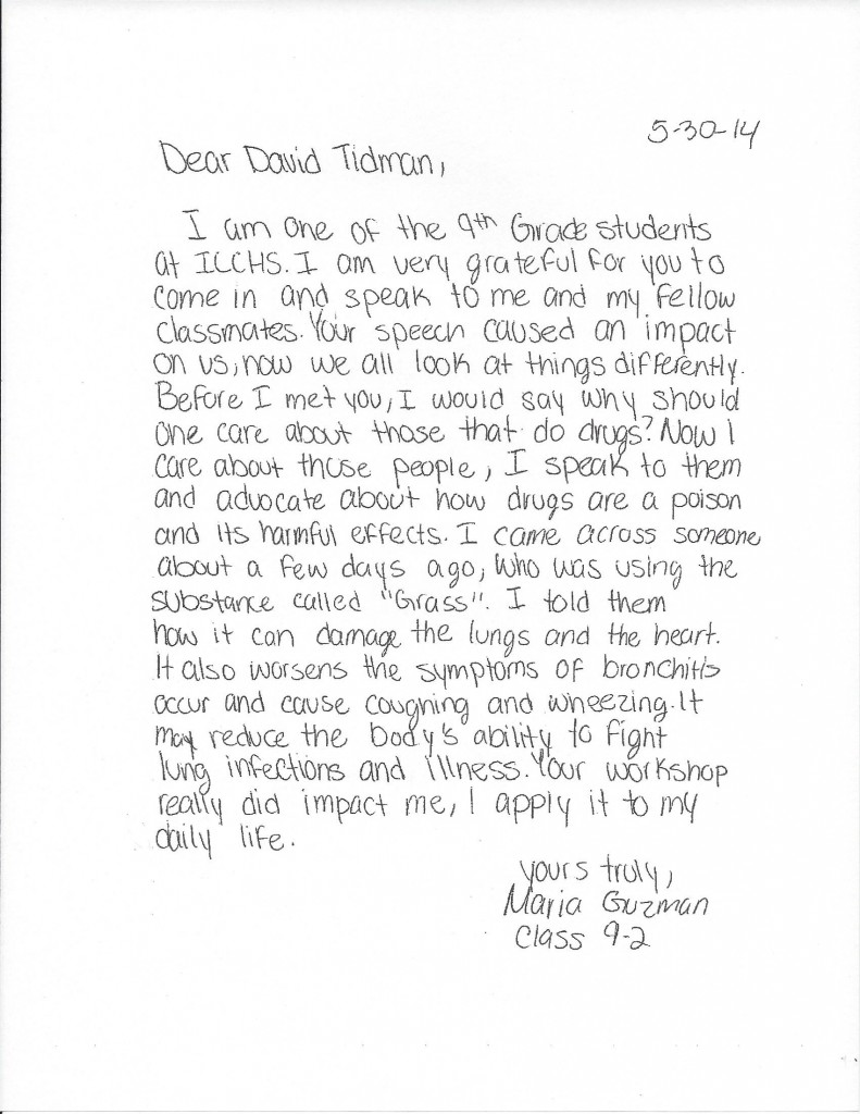 Letter from a 9th Grade Student about a Drug-Free World