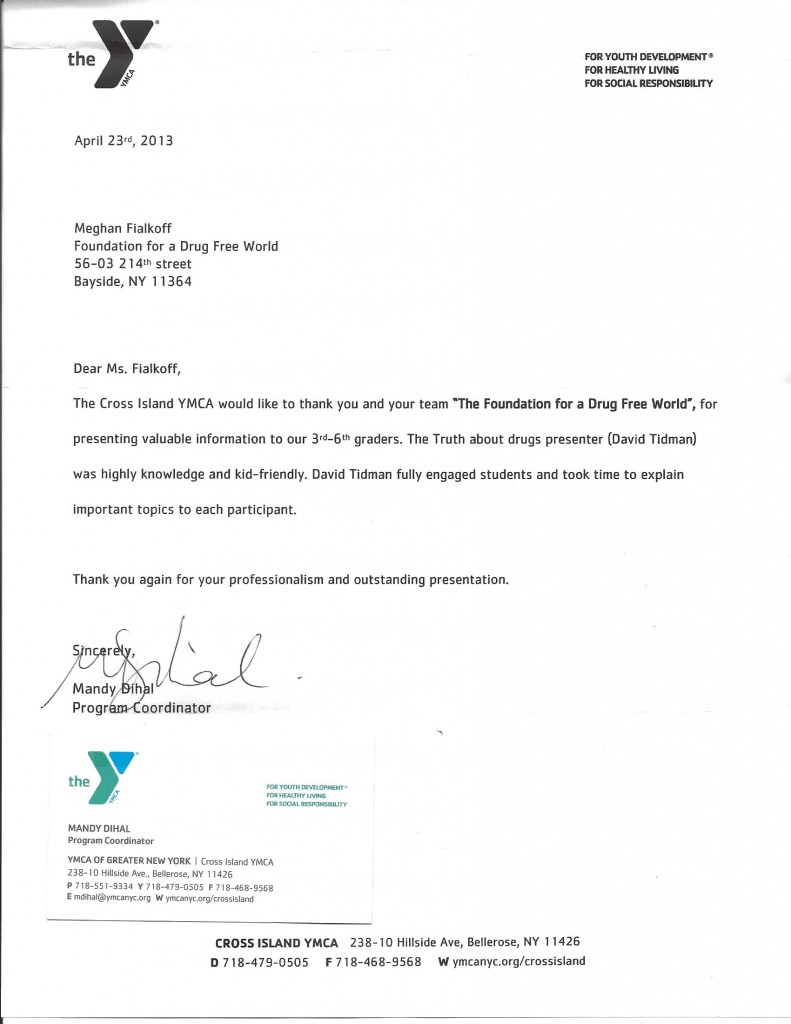 The Cross Island YMCA thanks The Foundation for a Drug Free World